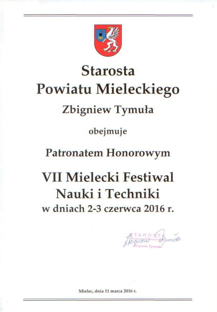Starosta Powiatu Mieleckiego_patronat honorowy